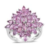 Madagascar Pink Sapphire Platinum Over Sterling Silver Ring (Size 9.0) TGW 5.72 cts.