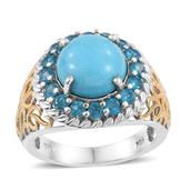 Arizona Sleeping Beauty Turquoise, Malgache Neon Apatite 14K YG and Platinum Over Sterling Silver Openwork Ring (Size 9.0) TGW 7.25 cts.