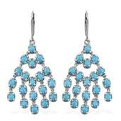 Arizona Sleeping Beauty Turquoise Platinum Over Sterling Silver Lever Back Chandelier Earrings TGW 6.850 Cts.