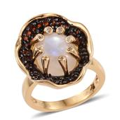 GP Sri Lankan Rainbow Moonstone, Mozambique Garnet 14K YG Over Sterling Silver Floral Ring (Size 9.0) TGW 7.150 cts.