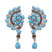 Arizona Sleeping Beauty Turquoise, Mozambique Garnet Platinum Over Sterling Silver Earrings TGW 5.460 Cts.