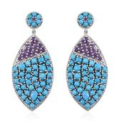 Arizona Sleeping Beauty Turquoise, Amethyst, White Zircon Platinum Over Sterling Silver Cluster Earrings TGW 8.71 cts.