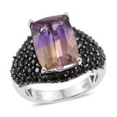 Anahi Ametrine, Thai Black Spinel Platinum Over Sterling Silver Ring (Size 7.0) TGW 7.050 cts.