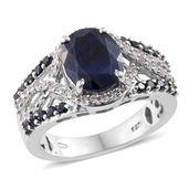 Kanchanaburi Blue Sapphire, White Zircon Platinum Over Sterling Silver Split Ring (Size 9.0) TGW 5.54 cts.