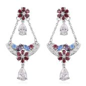 J Francis - Platinum Over Sterling Silver Dangle Earrings Made with Multi Color SWAROVSKI ZIRCONIA TGW 8.72 cts.