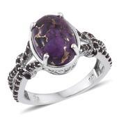 Mojave Purple Turquoise, Brazilian Smoky Quartz Platinum Over Sterling Silver Split Ring (Size 8.0) TGW 6.100 cts.