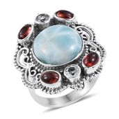 Artisan Crafted Larimar, Sky Blue Topaz, Mozambique Garnet Sterling Silver Statement Ring (Size 6.0) TGW 11.70 cts.