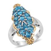 Malgache Neon Apatite 14K YG and Platinum Over Sterling Silver Ring (Size 10.0) TGW 3.280 cts.