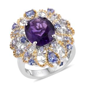 GP Amethyst, Tanzanite, Kanchanburi Blue Sapphire 14K YG and Platinum Over Sterling Silver Ring (Size 8.0) TGW 5.160 cts.