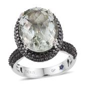 GP Green Amethyst Platinum Over Sterling Silver Ring (Size 8.0) TGW 8.720 cts.