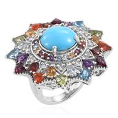 Arizona Sleeping Beauty Turquoise, Multi Gemstone 14K YG and Platinum Over Sterling Silver Ring (Size 7.0) TGW 13.72 cts.