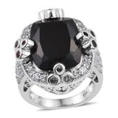 Thai Black Spinel, Multi Sapphire, White Topaz Platinum Over Sterling Silver Statement Ring (Size 7.0) TGW 31.500 cts.
