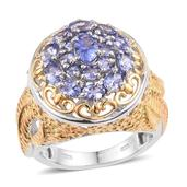 Tanzanite 14K YG and Platinum Over Sterling Silver Openwork Ring (Size 8.0) TGW 2.66 cts.