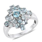 Madagascar Paraiba Apatite Platinum Over Sterling Silver Ring (Size 8.0) TGW 3.260 cts.