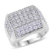 J Francis - Platinum Over Sterling Silver Wide Cluster Men's Ring Made with SWAROVSKI ZIRCONIA (Size 11.0) 0 TGW 8.640 cts.