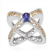 Premium AAA Tanzanite 14K YG and Platinum Over Sterling Silver Openwork Criss Cross Ring (Size 5.0) TGW 0.85 cts.