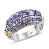 Tanzanite, White Topaz 14K YG and Platinum Over Sterling Silver Butterfly Band Ring (Size 8.0) TGW 3.230 cts.