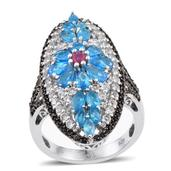 Malgache Neon Apatite, Ruby, White Topaz Platinum Over Sterling Silver Ring (Size 7.0) TGW 5.700 cts.