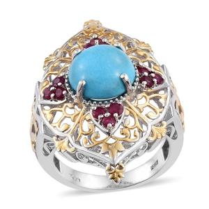 Arizona Sleeping Beauty Turquoise, Ruby 14K YG and Platinum Over Sterling Silver Openwork Ring (Size 9.0) TGW 6.35 cts.