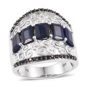 Kanchanaburi Blue Sapphire, Thai Black Spinel Platinum Over Sterling Silver Ring (Size 8.0) TGW 6.270 cts.