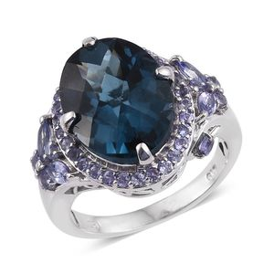 London Blue Topaz, Tanzanite Platinum Over Sterling Silver Ring (Size 9.0) TGW 12.900 cts.