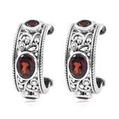 Jewel Studio by Shweta Mozambique Garnet Sterling Silver Earrings TGW 3.140 Cts.