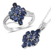 Kanchanaburi Blue Sapphire Platinum Over Sterling Silver Ring (Size 7) and Pendant With Chain (20 in) TGW 4.860 Cts.