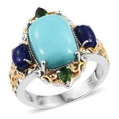 Sonoran Blue Turquoise, Lapis Lazuli, Russian Diopside 14K YG and Platinum Over Sterling Silver Openwork Ring (Size 7.0) TGW 7.91 cts.