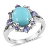 Sonoran Blue Turquoise, Tanzanite, White Zircon Platinum Over Sterling Silver Ring (Size 10.0) TGW 5.580 cts.