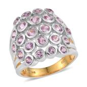 Madagascar Pink Sapphire 14K YG and Platinum Over Sterling Silver Open Cluster Ring (Size 8.0) TGW 2.85 cts.