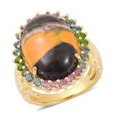 Bumble Bee Jasper, Multi Gemstone 14K YG Over Sterling Silver Ring (Size 8.0) TGW 12.80 cts.