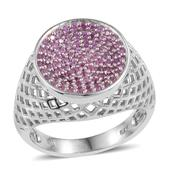 Madagascar Pink Sapphire Platinum Over Sterling Silver Openwork Signet Ring (Size 8.0) TGW 0.90 cts.