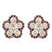 Marialite, Mozambique Garnet Platinum Over Sterling Silver Floral Ear Jacket Earrings TGW 5.16 cts.
