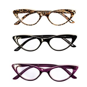 Cheetah Print, Black and Voliet Cat Eye Reading Glasses 2.0 Diopter - 3 Pairs