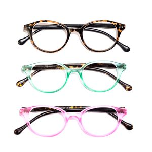 Animal Print Round Reading Glasses 1.5 Diopter - 3 Pairs