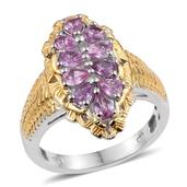 Madagascar Pink Sapphire 14K YG and Platinum Over Sterling Silver Elongated Ring (Size 6.0) TGW 1.75 cts.