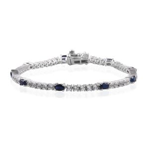 Kanchanaburi Blue Sapphire, White Topaz Platinum Over Sterling Silver Station Bracelet (7.50 In) TGW 7.20 cts.