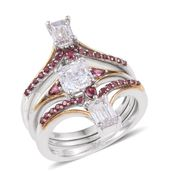 J Francis - 14K YG and Platinum Over Sterling Silver Stackable Rings Made with White and Red SWAROVSKI ZIRCONIA (Size 5.0) TGW 5.590 cts.