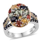Multi Sapphire 14K YG and Platinum Over Sterling Silver Cluster Ring (Size 8.0) TGW 3.580 cts.