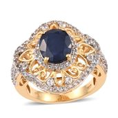 Kanchanaburi Blue Sapphire, White Topaz 14K YG Over Sterling Silver Openwork Ring (Size 10.0) TGW 6.05 cts.