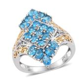 Malgache Neon Apatite, Diamond Accent 14K YG and Platinum Over Sterling Silver Elongated Ring (Size 6.0) TDiaWt 0.02 cts, TGW 2.620 cts.