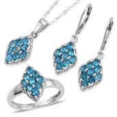 Malgache Neon Apatite Platinum Over Sterling Silver Lever Back Earrings, Ring (Size 8) and Pendant With Chain (20 in) TGW 3.000 cts.