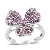 Madagascar Pink Sapphire Platinum Over Sterling Silver 3 Leaf Clover Ring (Size 5.0) TGW 1.27 cts.