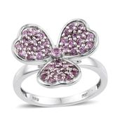 Madagascar Pink Sapphire Platinum Over Sterling Silver 3 Leaf Clover Ring (Size 7.0) TGW 1.27 cts.