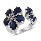 Kanchanaburi Blue Sapphire, Ruby, White Topaz Platinum Over Sterling Silver Open Floral Ring (Size 8.0) TGW 8.860 cts.