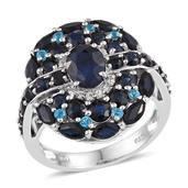 Kanchanaburi Blue Sapphire, Malgache Neon Apatite, White Topaz Platinum Over Sterling Silver Ring (Size 7.0) TGW 6.75 cts.