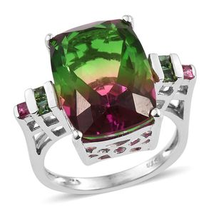 Watermelon Quartz, Viceroy Spessartite Garnet, Rubelite Platinum Over Sterling Silver Ring (Size 7.0) TGW 15.500 cts.