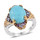 Sonoran Blue Turquoise, Multi Gemstone 14K YG and Platinum Over Sterling Silver Ring (Size 9.0) TGW 9.00 cts.