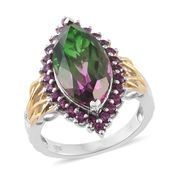 Watermelon Quartz, Orissa Rhodolite Garnet 14K YG and Platinum Over Sterling Silver Ring (Size 10.0) TGW 10.50 cts.