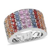 Multi Sapphire Sterling Silver Ring (Size 7.0) TGW 5.500 cts.